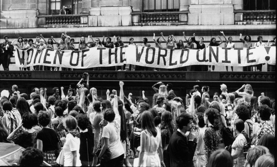 To commemorate the 50th anniversary of Womens Suffrage in the United States, record numbers of women marching along 5th Avenue.