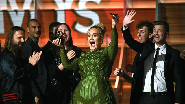 LOS ANGELES, CA - FEBRUARY 12:  Recording artist Adele, winner of Album of the Year for 25, speaks onstage during The 59th GRAMMY Awards at STAPLES Center on February 12, 2017 in Los Angeles, California.  (Photo by Kevork Djansezian/Getty Images)