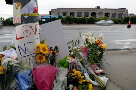 Mandatory Credit: Photo by Gregory Bull/AP/REX/Shutterstock (10222092b) Signs of support and flowers adorn a post in front of the Chabad of Poway synagogue, in Poway, Calif. A man opened fire Saturday, April 27 inside the synagogue near San Diego, as worshippers celebrated the last day of a major Jewish holiday Synagogue Shooting California, Poway, USA - 29 Apr 2019