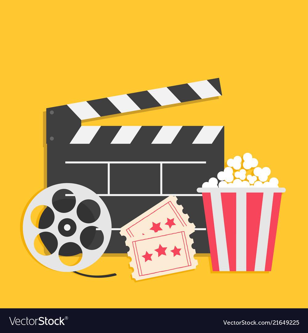 Big movie reel Open clapper board Popcorn box package Ticket Admit one. Three star. Cinema icon set. Yellow background. Flat design style. Vector illustration